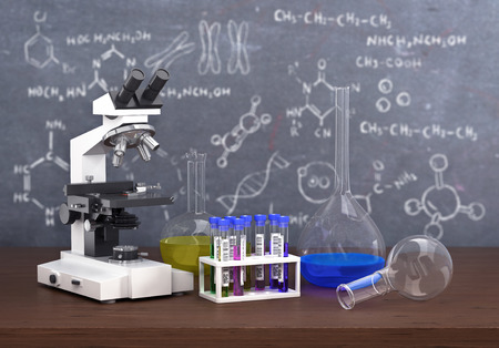 laboratory: Chemistry laboratory concept. Laboratory chemical test tubes and objects on the table with chemistry draw on whiteboard.