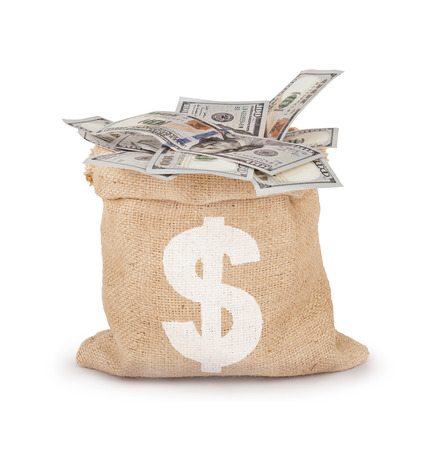 tightened: Money in the bag isolated on a white background