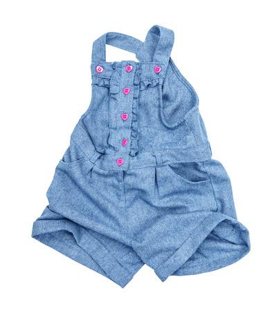 rompers: mamelucos de los pantalones vaqueros azules aislados en un fondo blanco Foto de archivo