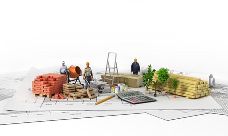 work material: Construction materials with blueprint on the wtite background.