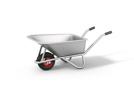 Wheelbarrow on the white background.