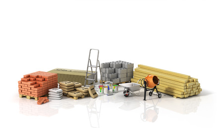Construction materials on the wtite background.