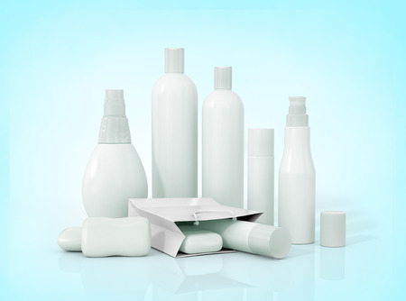 plastic to containers: Blank packaging bottles cosmetics