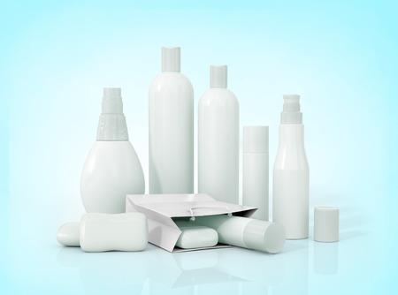 aseo personal: Botellas de embalaje en blanco cosméticos