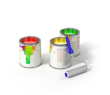 roller brush: Group of can paints and roller brush. Stock Photo