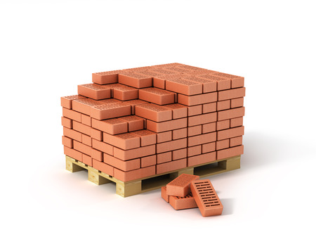 pallet: Red bricks stacked on wooden pallet isolated on white background. Stock Photo