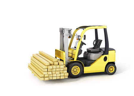 Forklift truck holding wood beams on the white background. photo