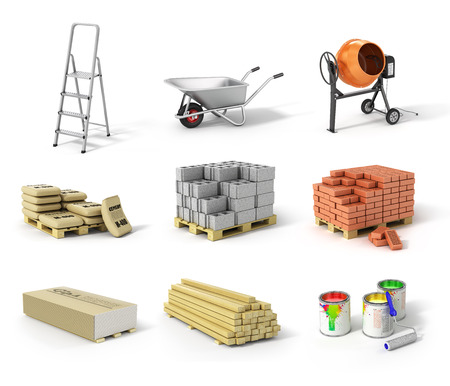 work material: Set of construction material. Ladder wheel concrete mixer cement bricks gypsum beams and paint. Stock Photo