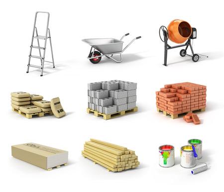 Set of construction material. Ladder wheel concrete mixer cement bricks gypsum beams and paint. Standard-Bild