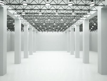 3d illustratie van lege verlichte kamer Stockfoto