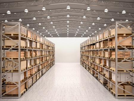 3D-afbeelding van rijen van planken met dozen in de moderne magazijn
