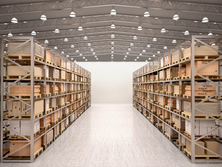 delivery room: 3d illustration of rows of shelves with boxes in modern warehouse