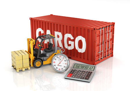 forklift: Container with forklift stacker loader holding cardboard boxes and stopwatch Stock Photo
