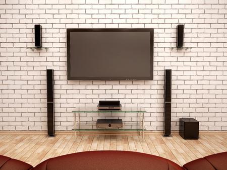 3D-afbeelding van home theater interieur