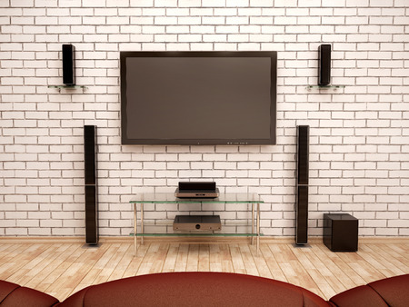 home entertainment: 3d illustration of home Theater interior