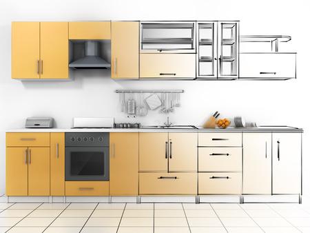 kitchen furniture: Abstract sketch design of interior kitchen. Wireframe render.