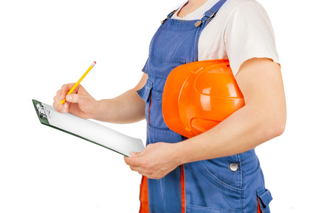 journeyman technician: Construction worker isolated on a white background
