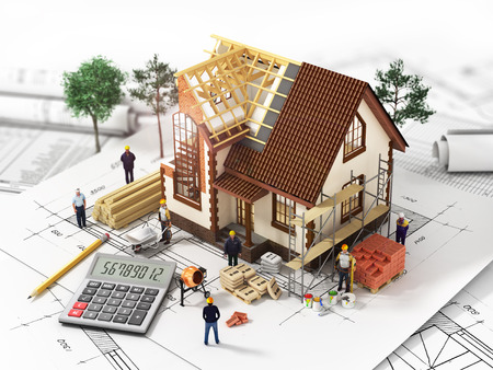 House with open interior on top of blueprints documents and mortgage calculations and workers