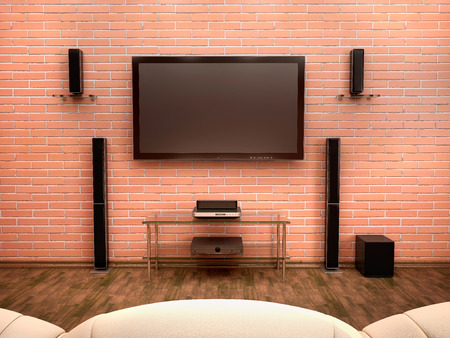 stereo subwoofer: 3d illustration of home Theater interior