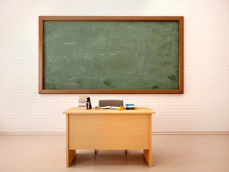 teacher student: 3d illustration of bright empty classroom for lessons and training Stock Photo