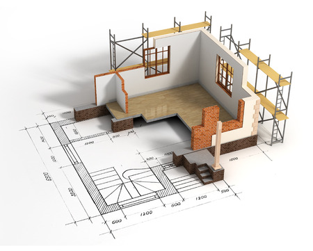 mortgage application: House with open interior on top of blueprints Stock Photo