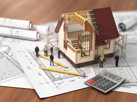 Haus mit offenen Innenraum oben auf Blaupausen Dokumente und Hypotheken-Berechnungen und Bauherren