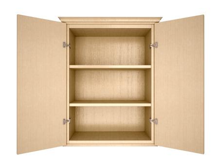 空の食器棚の 3 d イラストレーション