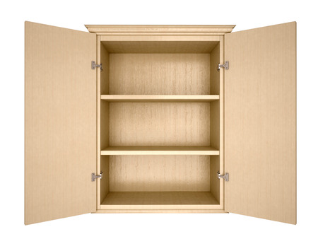 kitchen cabinet: 3d illustration of empty cupboard Stock Photo