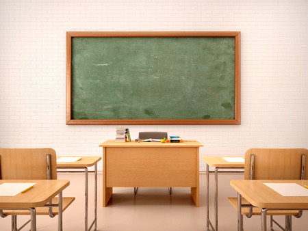 3d illustration of bright empty classroom for lessons and training Фото со стока