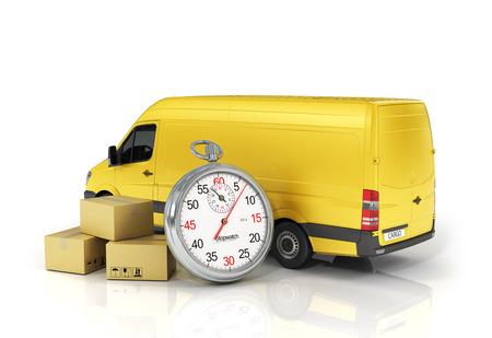 Caja de paquete de cartón con el cronómetro y el vehículo de reparto en el fondo blanco. Concepto de entrega rápida.