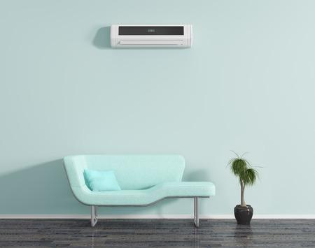 pokoj: Modrý pokoj s klimatizací a sedací soupravou.