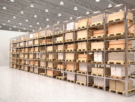 3d illustration of rows of shelves with boxes in modern warehous