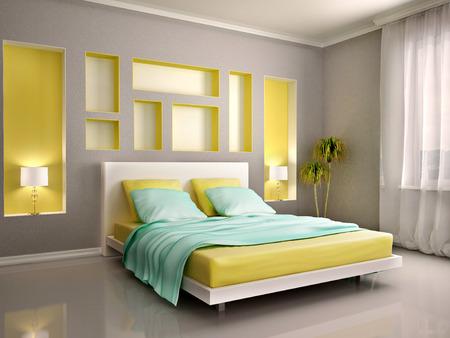 chambre à coucher: 3d illustration d'intérieur moderne de chambre avec lit jaune et niches Banque d'images
