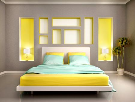 chambre � coucher: 3d illustration d'int�rieur moderne de chambre avec lit jaune et niches Banque d'images