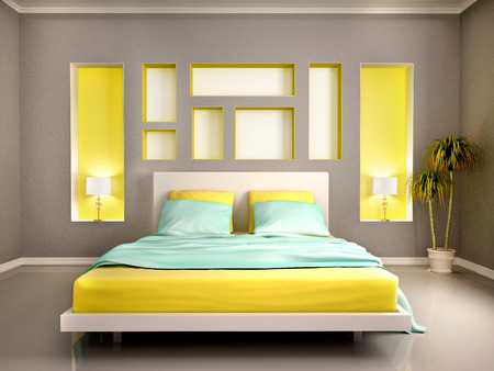 bedroom: 3d illustration of modern bedroom interior with yellow bed and niches