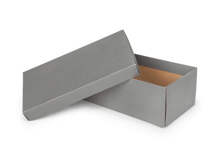 흰 배경에 고립 된 회색 구두 상자 스톡 콘텐츠