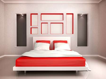 3D illustration of interior of modern bedroom in red and gray Stock Photo