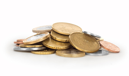 tightened: coins isolated on white background