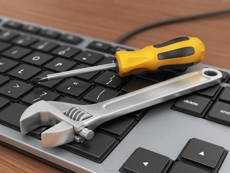 Concepto de apoyo técnico electrónico. Llaves de teclado de ordenador.