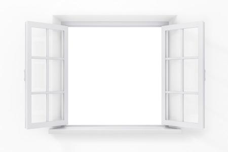 Abrir ventana en la pared blanca Foto de archivo - 41126734