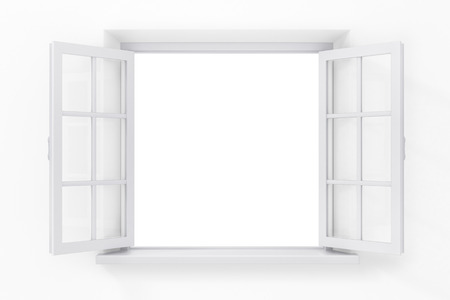 Open window in the white wall Stock Photo