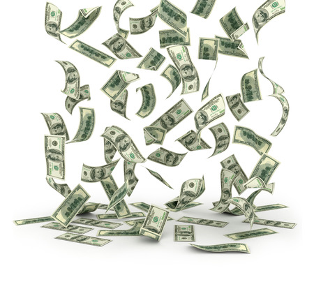 dollaro: Caduta banconote da un dollaro su sfondo bianco