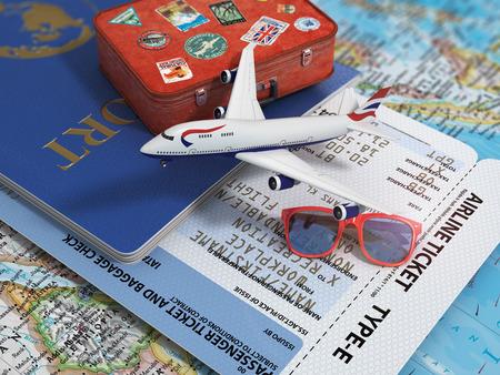 Viaje o el concepto de turismo. Pasajes para el avión de avión de pasaporte y la maleta en el mapa.