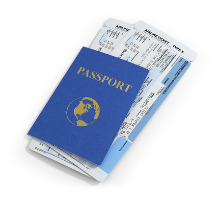 Travel documents on white background. Passport and airline ticket. Stock Photo
