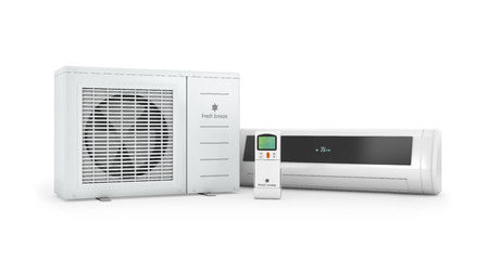 conditioner: Air conditioners with remote control on a white background