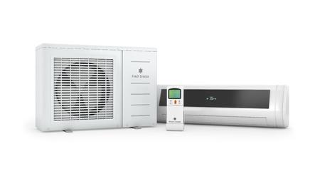 aire acondicionado: Los acondicionadores de aire con control remoto sobre un fondo blanco