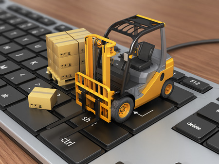 moving truck: Concept of delivering shipping or logistics. Forklift on keyboard.