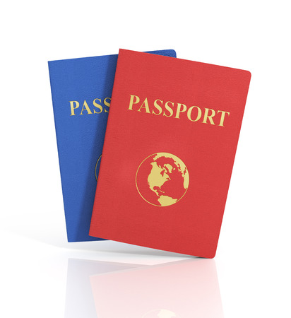 ides: Passports with map isolated on white background. Internaional. Stock Photo