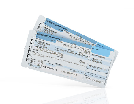 boarding card: Airline boarding pass tickets on a white background.