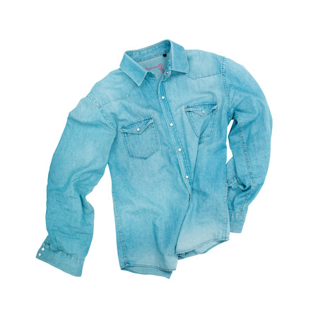 blue denim: blue denim shirt with a white background